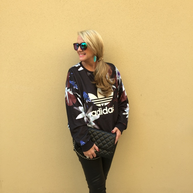 Adidas Top/Urban Outfitter, Leather Jean/JBrand at Anthropologie Sunnies/Wildfox Couture